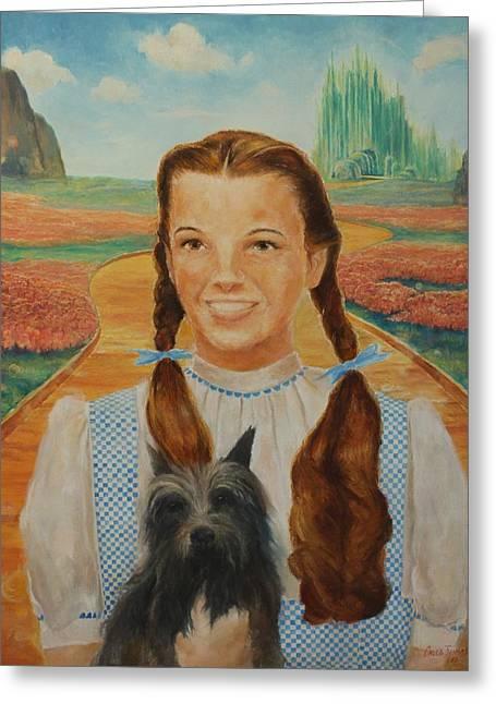 Dorothy And Toto Greeting Card by Caleb Thomas