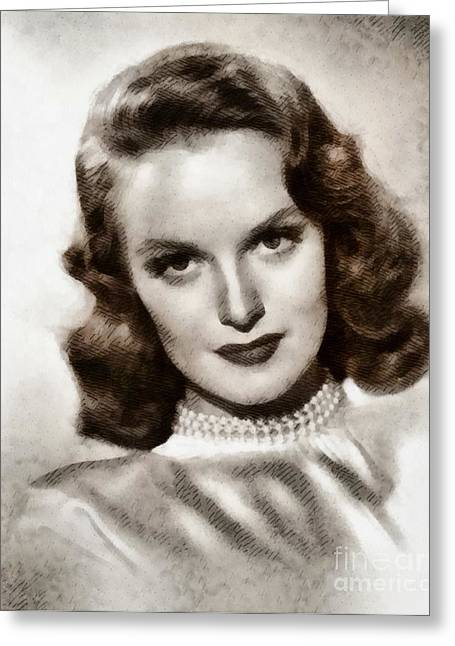 Dorothy Hart, Vintage Actress By John Springfield Greeting Card by John Springfield
