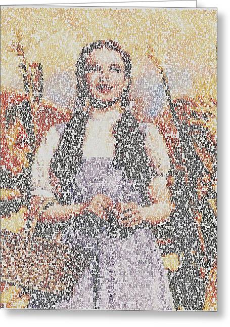Greeting Card featuring the mixed media Dorothy Made Of Wizard Of Oz Quotes by Paul Van Scott