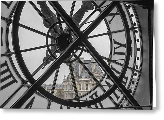 D'orsay Clock Paris Greeting Card by Joan Carroll