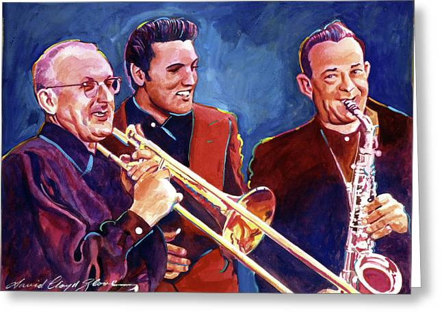Elvis Icon Greeting Cards - Dorsey Brothers Meet Elvis Greeting Card by David Lloyd Glover