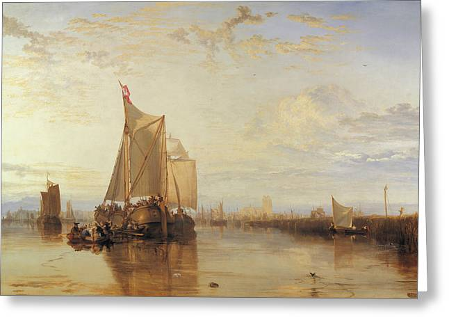 Dort Or Dordrecht The Dort Packet Boat From Rotterdam Becalmed Greeting Card by Joseph Mallord William Turner