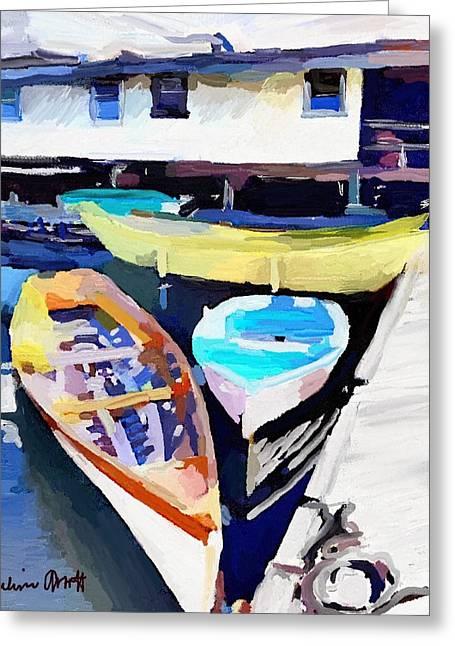 Dory Dock At Beacon Marine Basin - East Gloucester, Ma Greeting Card