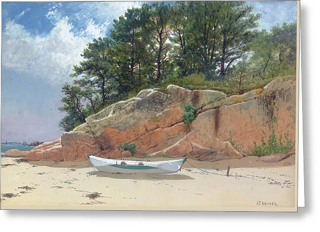 Dory On Dana's Beach Greeting Card by Alfred Thompson Bricher