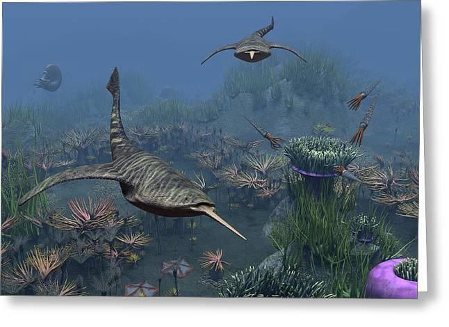 Doryaspis Swim Amongst A Bed Greeting Card by Walter Myers