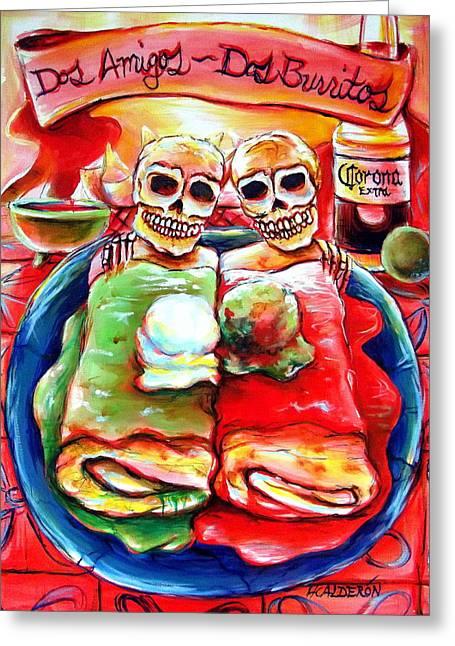 Dos Amigos Dos Burritos Greeting Card by Heather Calderon