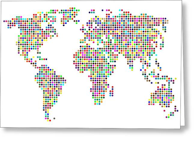 Dot Map Of The World - Colour On White Greeting Card by Michael Tompsett
