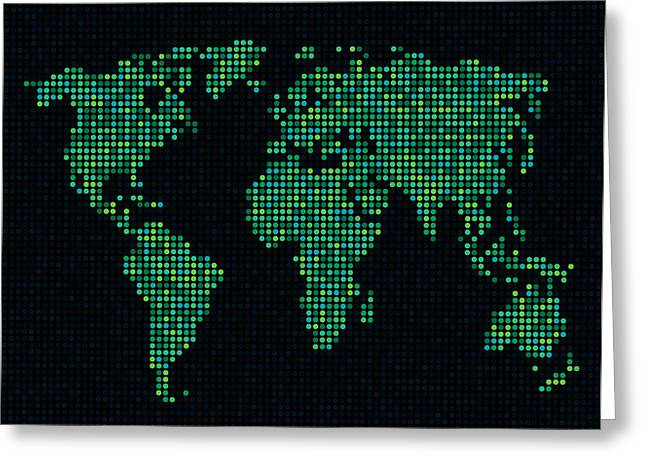 Dot Map Of The World - Green Greeting Card by Michael Tompsett