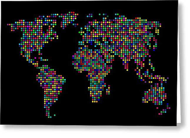 Dot Map Of The World - Multi Colours Greeting Card by Michael Tompsett
