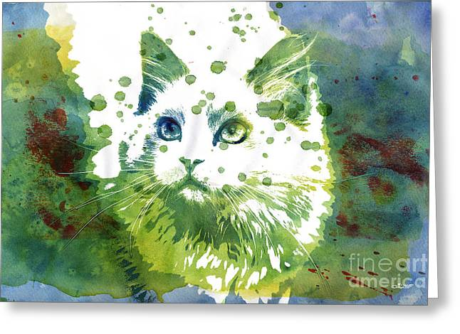 Dotted Cat Greeting Card by Jutta Maria Pusl