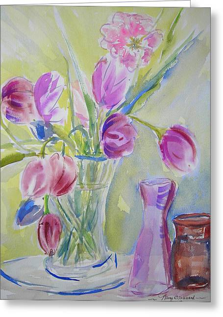 Dotty's Tulips Greeting Card by Nancy Brennand