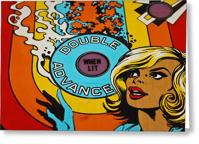 Double Advance - Pinball Greeting Card by Colleen Kammerer