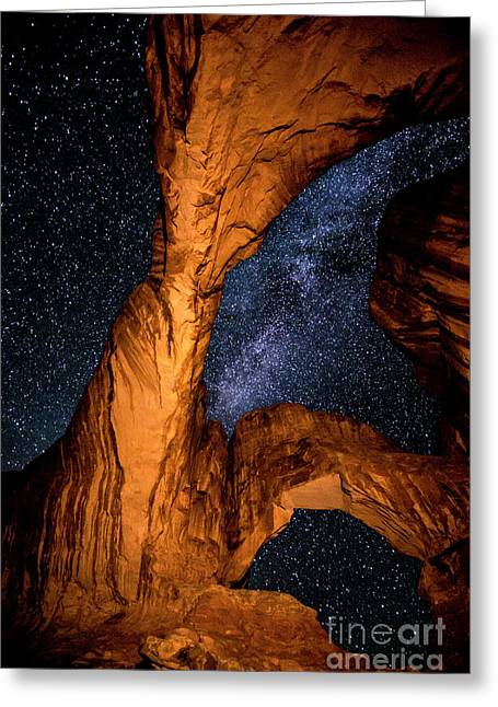 Double Arch And The Milky Way - Utah Greeting Card