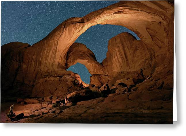Double Arch And The Milky Way - Arches National Park - Moab, Utah. Greeting Card