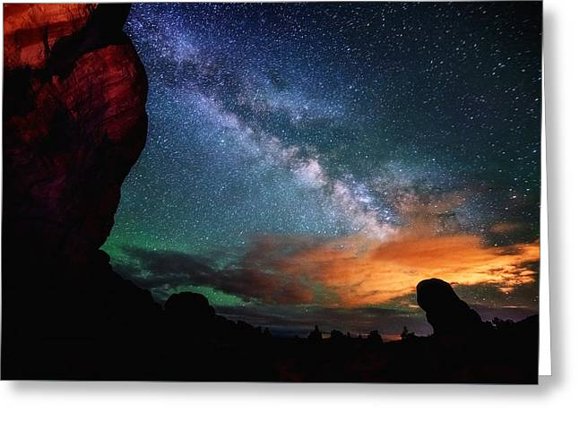Night Photography Workshop Greeting Cards - Double Arch View Greeting Card by Darren  White