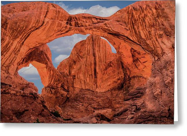 Greeting Card featuring the photograph Double Arches At Arches National Park by Penny Lisowski