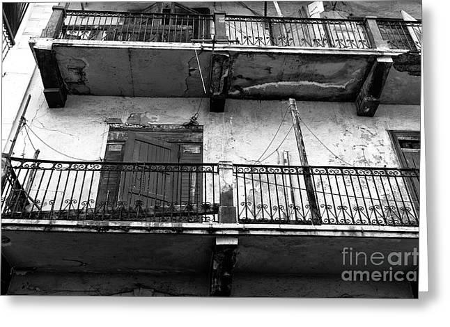Double Balconies In Panama City Mono Greeting Card by John Rizzuto