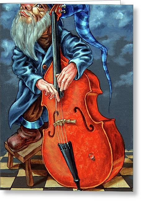Double Bass And Bench Greeting Card