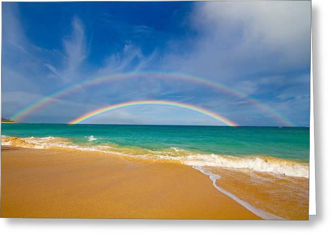 Double Beach Rainbow Of Maui Greeting Card by Angelina Hills