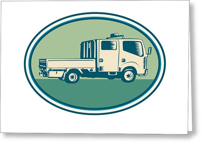 Double Cab Pick-up Truck Oval Woodcut Greeting Card by Aloysius Patrimonio