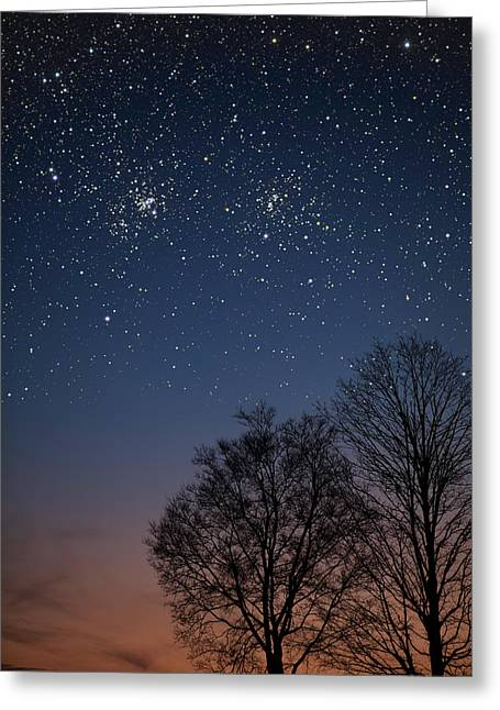 Double Cluster Sunset Greeting Card