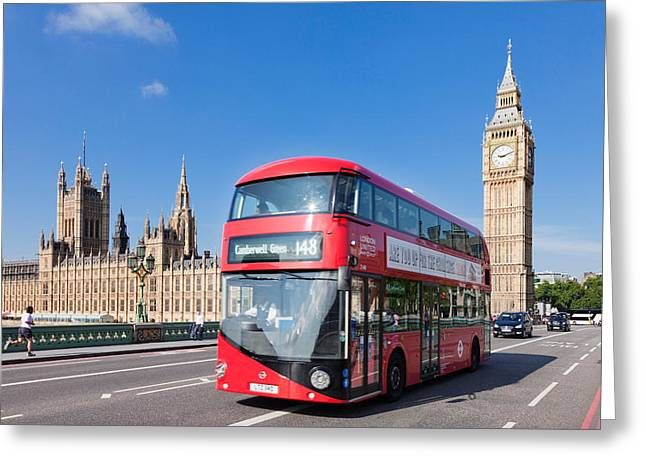 Double-decker Bus Moving On Westminster Greeting Card by Panoramic Images