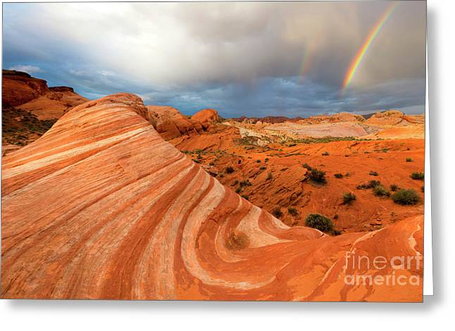 Double Desert Rainbow Greeting Card by Mike Dawson