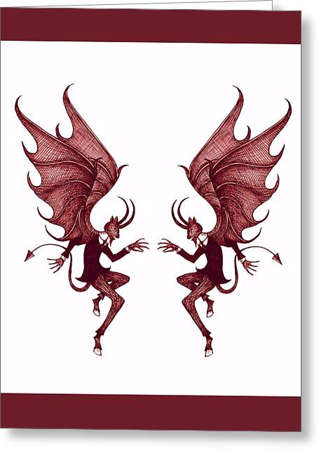 Double Diablo Greeting Card by Little Bunny Sunshine