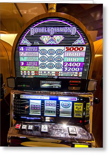 Double Diamond Slot Machine At Lumiere Place Casino Greeting Card by David Oppenheimer