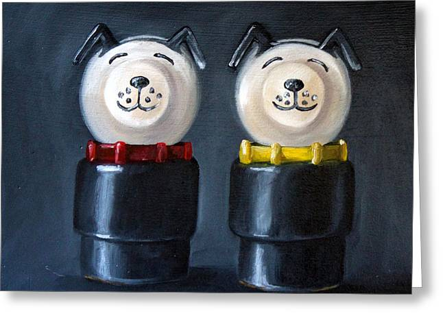 Double Dog Dare Greeting Card by Cindy Cradler