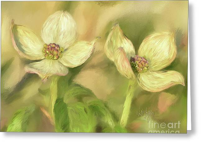 Greeting Card featuring the digital art Double Dogwood Blossoms In Evening Light by Lois Bryan