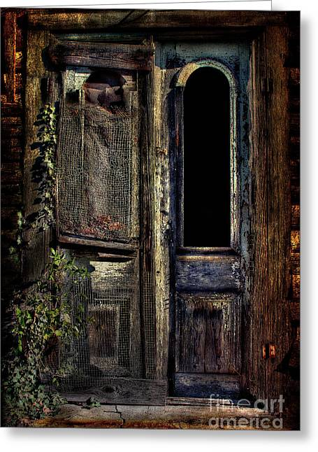 Double Door Greeting Card by Sari Sauls
