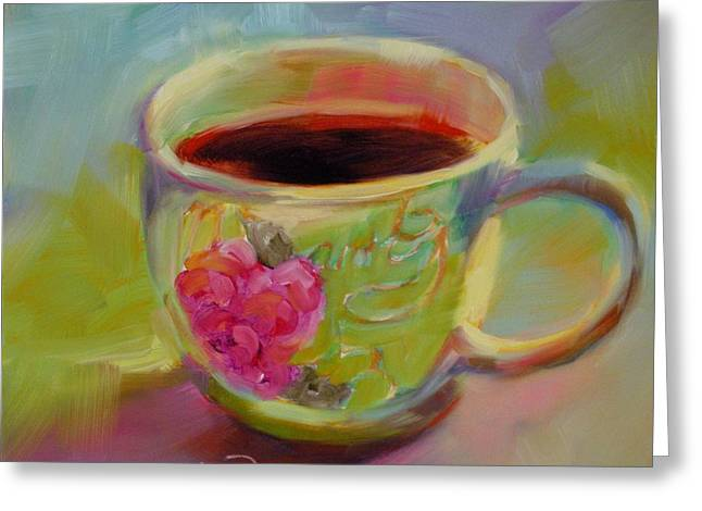 Greeting Card featuring the painting Double Espresso, Please by Chris Brandley