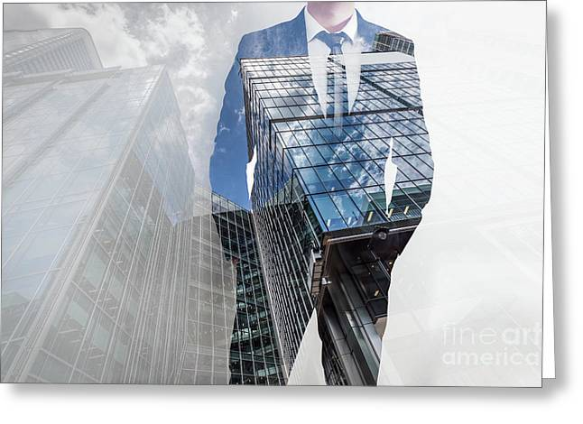 Double Exposure Of Businessman And Modern Skyscrapers. Business Leader, Career Concepts Greeting Card