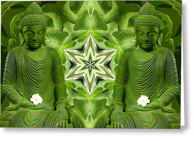 Double Green Buddhas Greeting Card