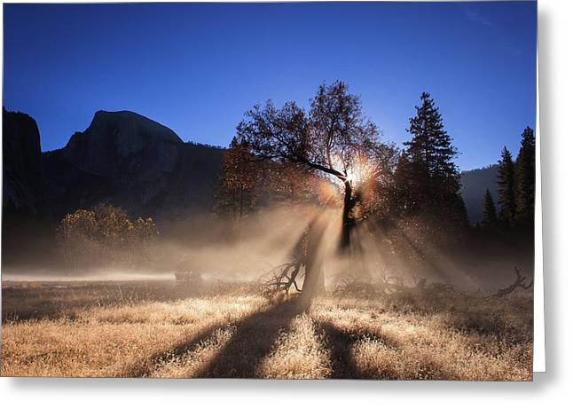 Double Ice Fog Rainbow In Yosemite Valley Greeting Card
