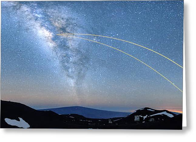 Double Lasers With The Milky Way Panorama Greeting Card