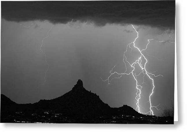Double Lightning Pinnacle Peak Bw Fine Art Print Greeting Card