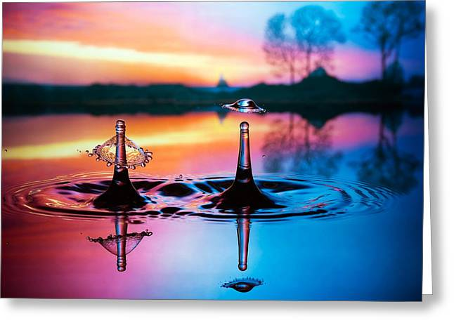 Double Liquid Art Greeting Card