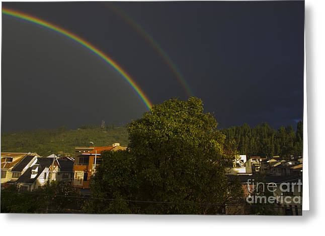 Double Pot O' Gold Greeting Card by Al Bourassa