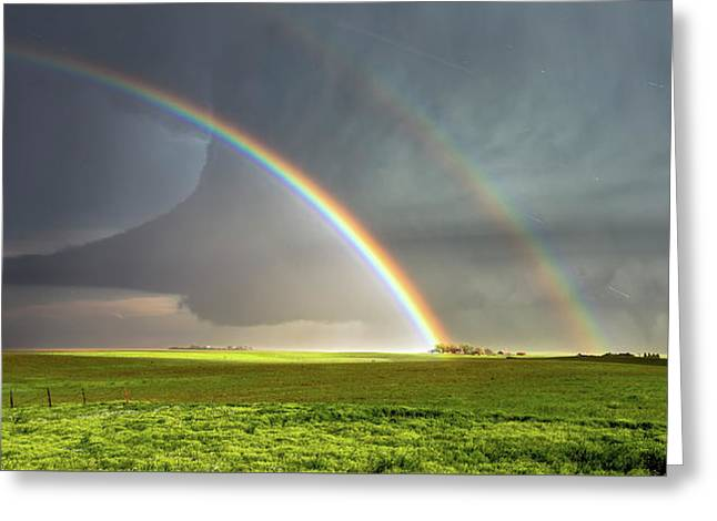 Double Rainbow And Tornado Greeting Card by Shane Linke
