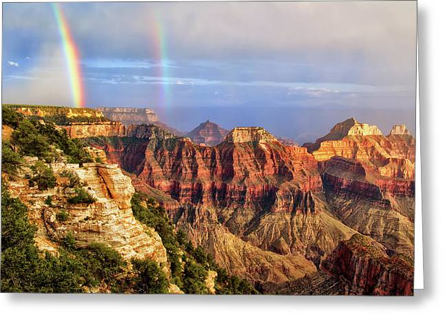 Double Rainbow At Grand Canyon North Rim Greeting Card by Carolyn Derstine