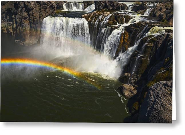 Double Rainbow At Shoshone Falls In Idaho Greeting Card