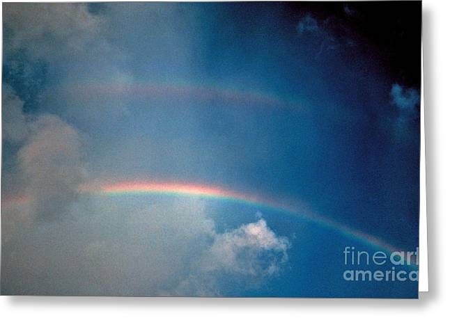 Double Rainbow Greeting Card by Frederick Holiday