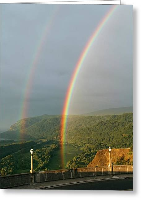 Double Rainbow From Vista House Greeting Card by Wes and Dotty Weber