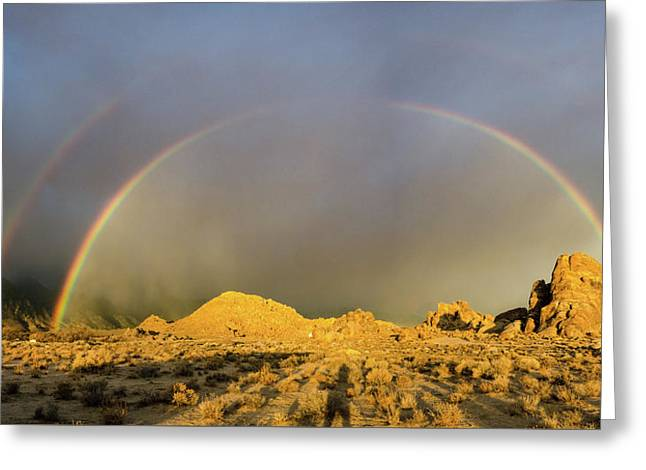 Double Rainbow Gold Greeting Card