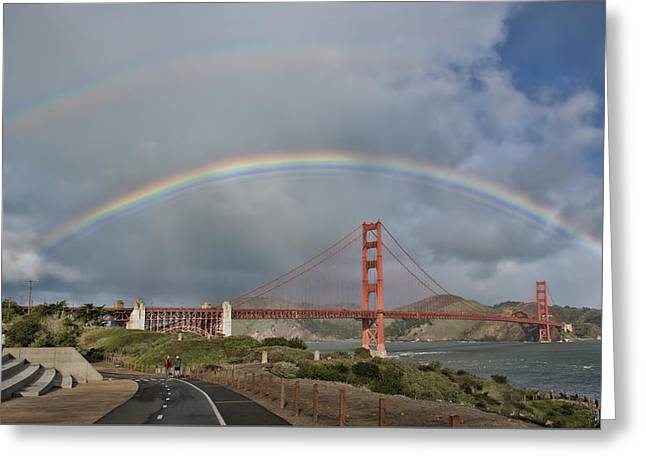 Greeting Card featuring the photograph Double Rainbow Golden Gate Bridge by Steve Siri