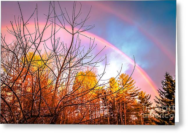 Double Rainbow-hdr Greeting Card