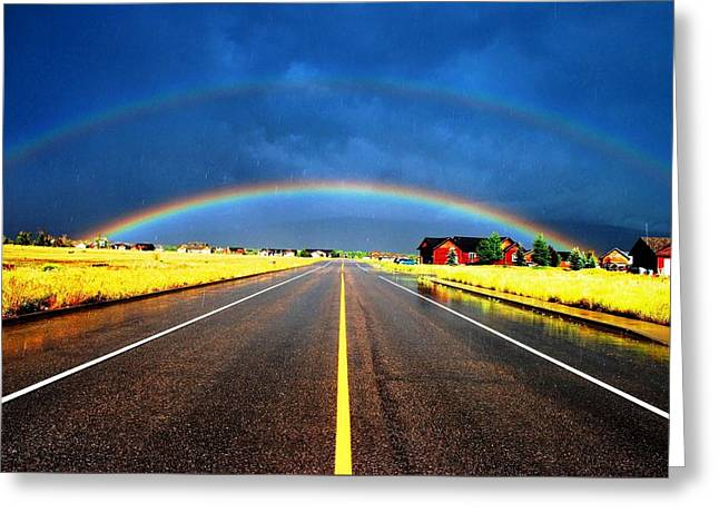 Double Rainbow Over A Road Greeting Card