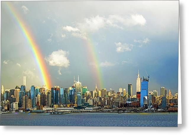 Double Rainbow Over New York City  Greeting Card by Regina Geoghan